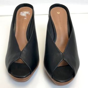 Leifsdottir | Anthropologie black leather peep toe